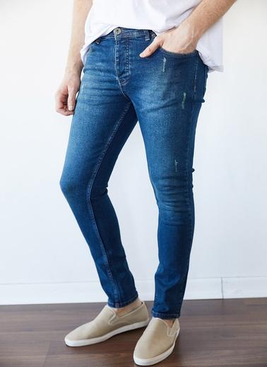 XHAN Yıkamalı Mavi Slim Fit Jean Pantolon 1Kxe5-44256-49 Mavi